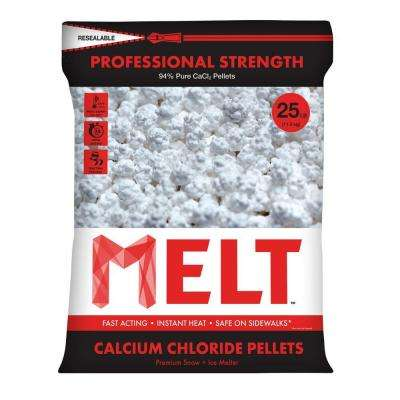 25 lb. Professional Strength Calcium Chloride Pellets Ice Melter - Re-Sealable Bag