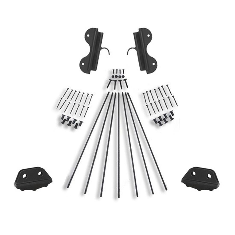 Black Single Hook Non-Rolling Ladder Hardware Kit for 16 in. W Ladders