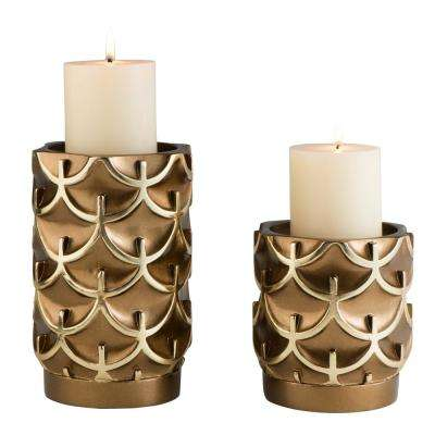 Bronze Mystic Owl Polyresin Candleholders (Set of 2)