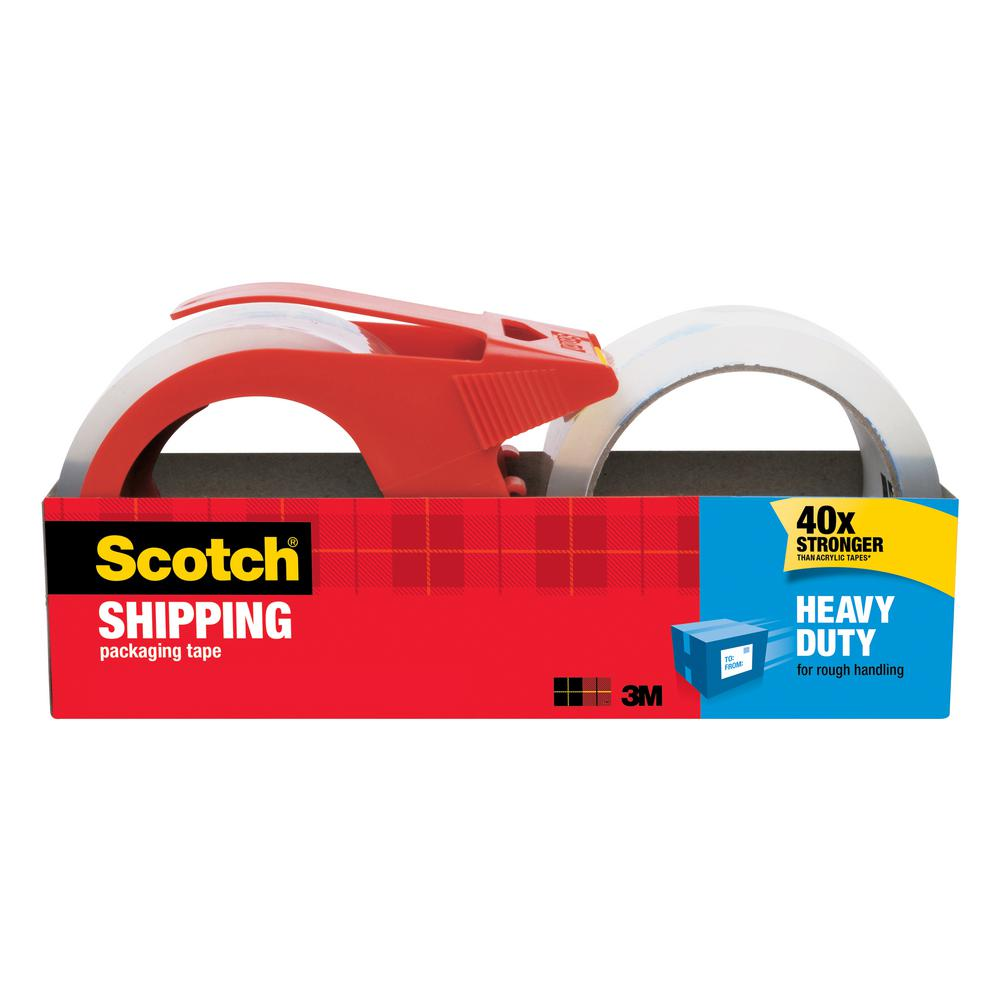 3M Scotch 1.88 in. x 54.6 yds. Heavy Duty Shipping Packaging Tape with Dispenser ((2-Pack)(Case of 6))