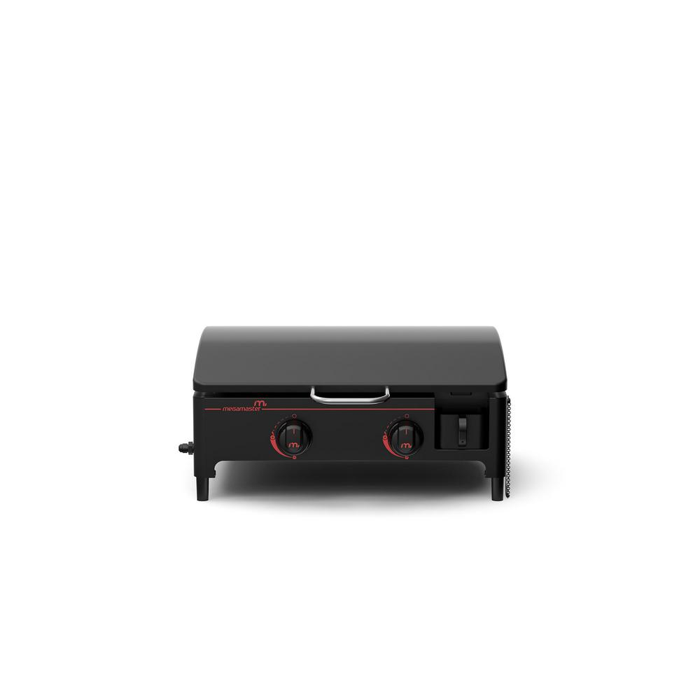 2-Burner Portable Propane Gas Grill in Black with Griddle Top