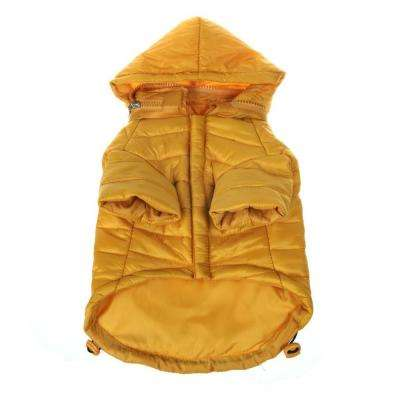 Small Sporty Mustard Lightweight Adjustable Sporty Avalanche Dog Coat with Removable Pop Out Collared Hood