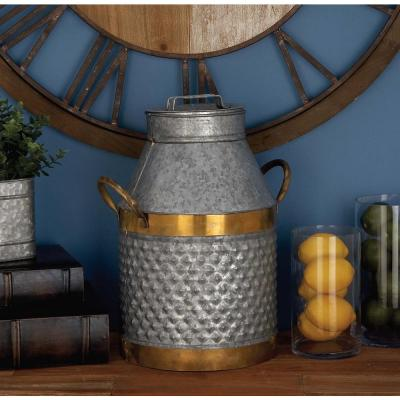 Litton Lane 17 in. Rustic Galvanized Iron Can with Gold-Finished Trims, Grey