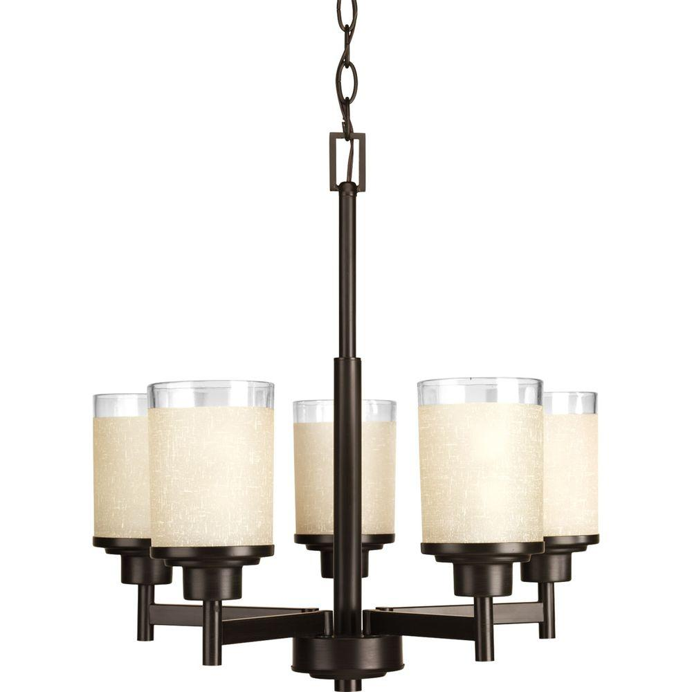 Progress Lighting Alexa Collection 5 Light Antique Bronze Chandelier With Etched Umber Linen Gl Shade
