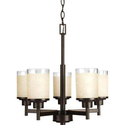 Alexa Collection 5-Light Antique Bronze Chandelier with Etched Umber Linen Glass Shade
