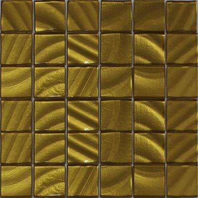 Valverde 2 x 2 3D Gold 12 in. x 12 in. x 6mm Glass Mosaic Tile