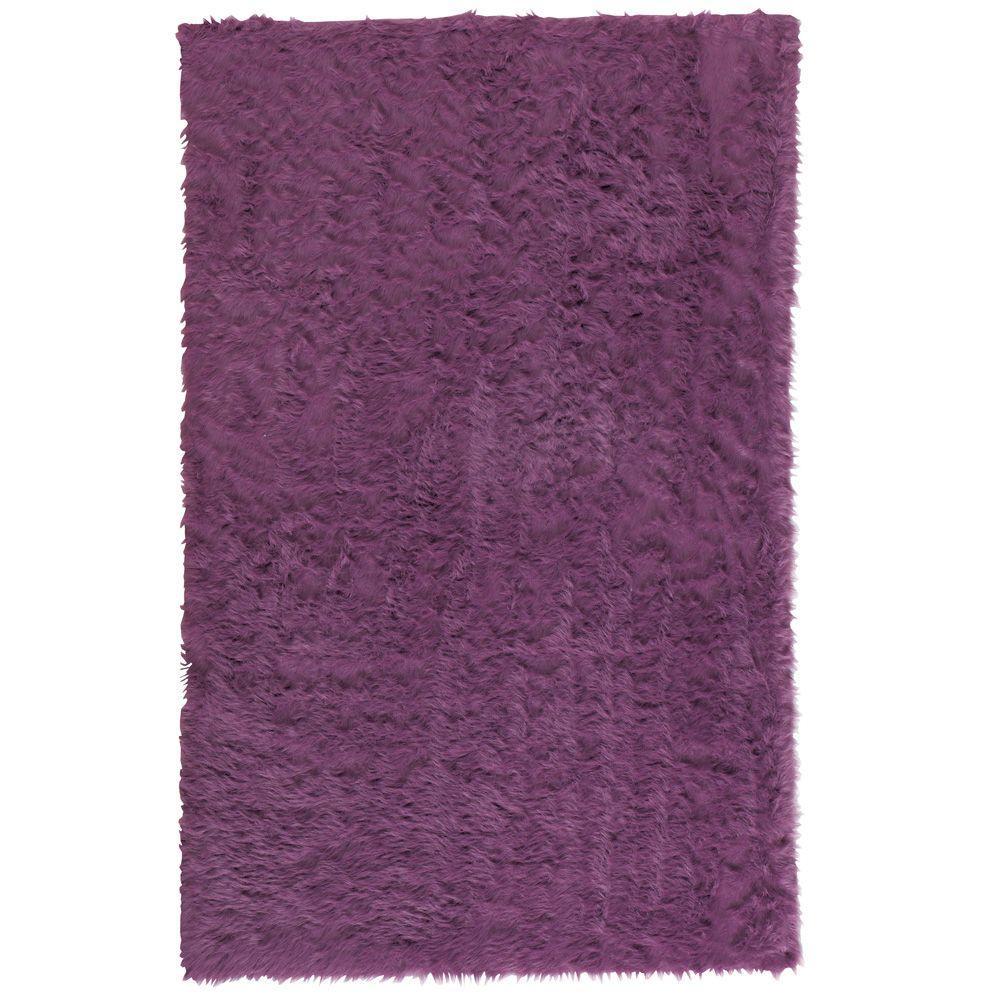 8bb14fbdf06 Home Decorators Collection Faux Sheepskin Purple 5 ft. x 8 ft. Area ...