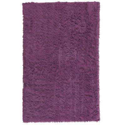 Faux Sheepskin Purple 5 ft. x 8 ft. Area Rug