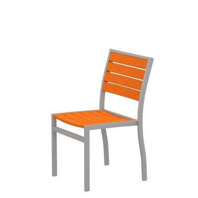Euro Textured Silver Patio Dining Side Chair with Tangerine Slats