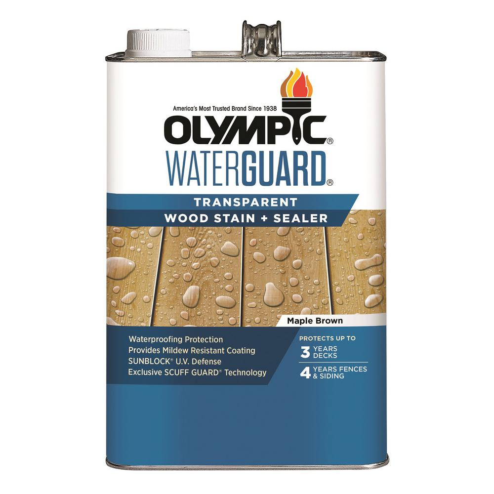 Olympic WaterGuard 1 gal. Maple Brown Transparent Wood Stain and Sealer