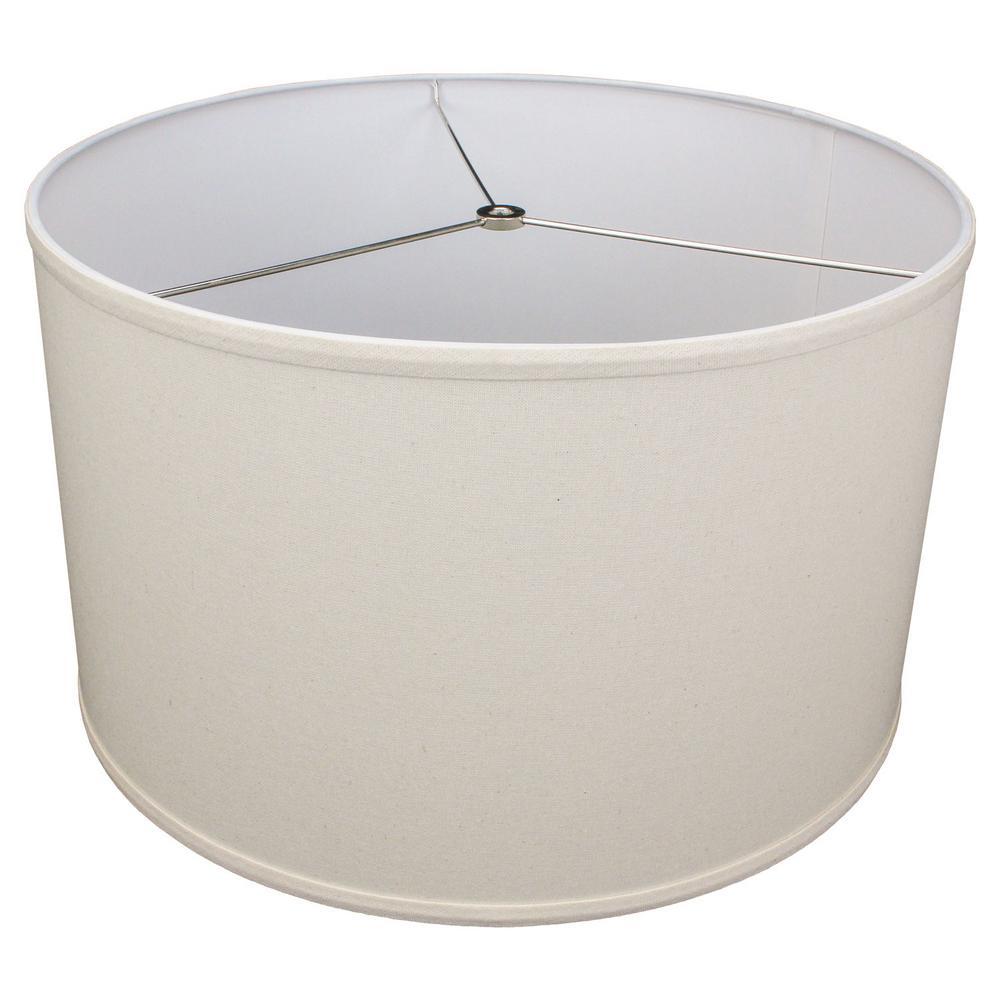 18 in. Top Diameter x 18 in. Bottom Diameter x 11 in. H Linen Beige Homespun Drum Lamp Shade