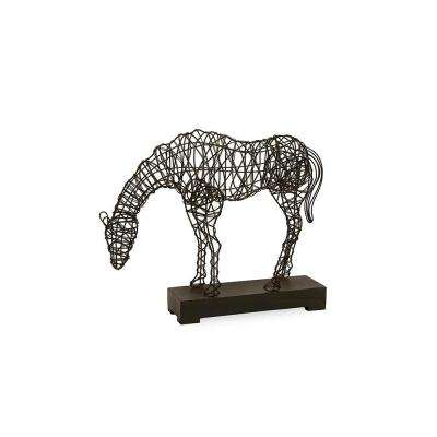 19.75 in. x 25.5 in. Woven Wire Horse Decorative Sculpture in Black