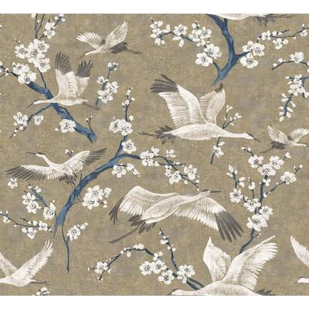 Airone Gold Crane Wallpaper Sample