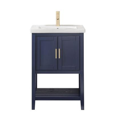 24 in. W x 18.5 in. D Vanity in Blue with Ceramic Vanity Top in White with White Basin