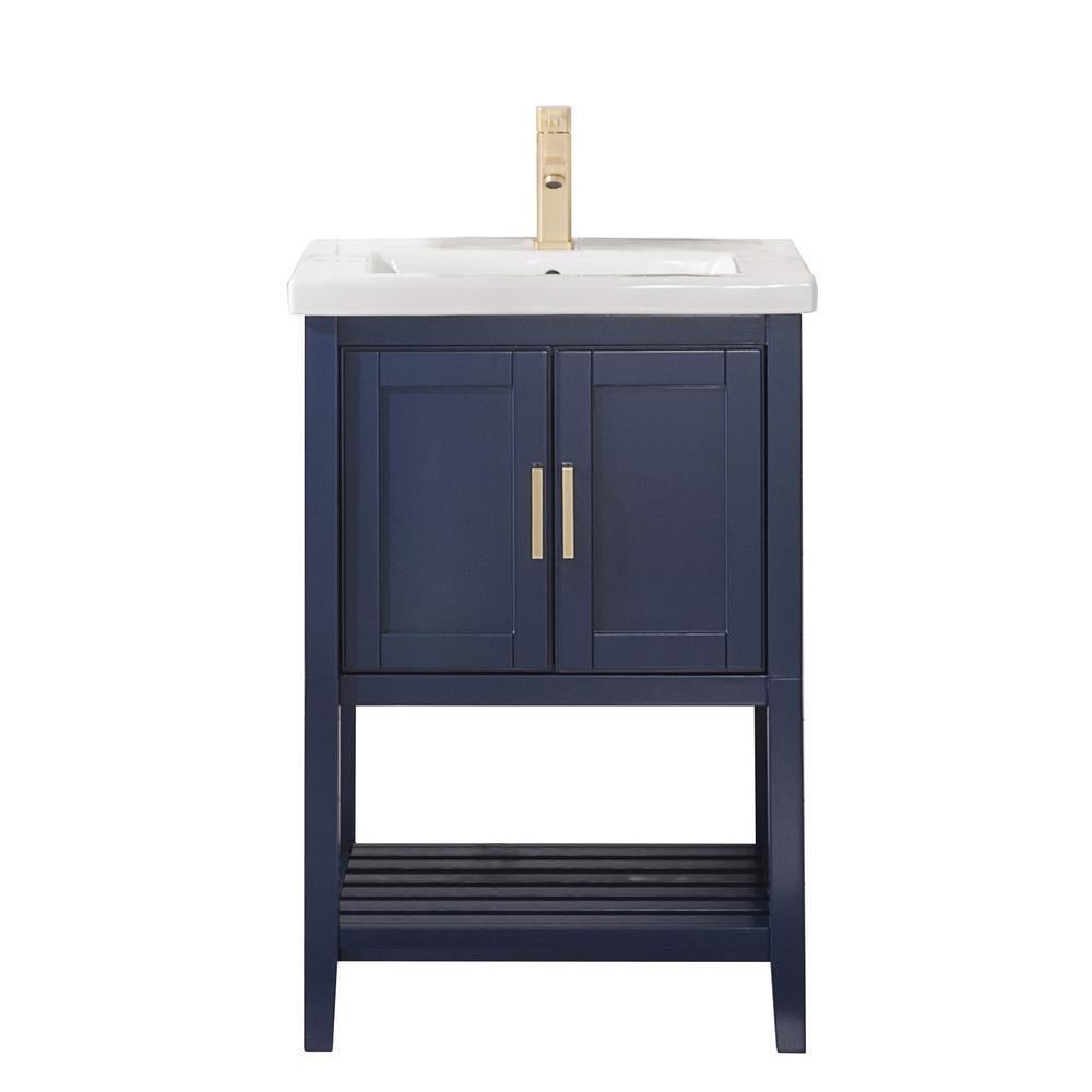 24 in. W x 18.5 in. D Vanity in Blue with Ceramic Vanity Top in White with White Basin