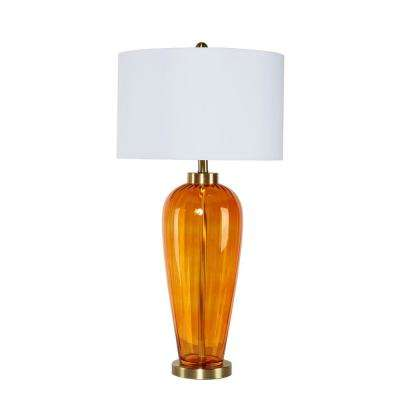 Ozias 32 in. Orange Glass Table Lamp