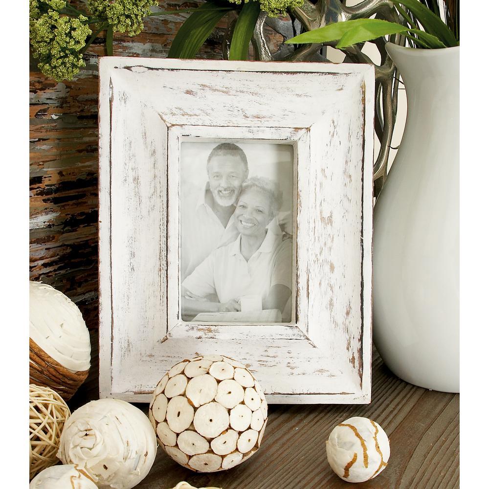Dark Walnut and Vintage White Picture Frame (Set of 2)