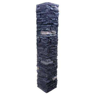 Slatestone 8 in. x 8 in. x 41 in. Onyx Faux Polyurethane Stone Post Cover