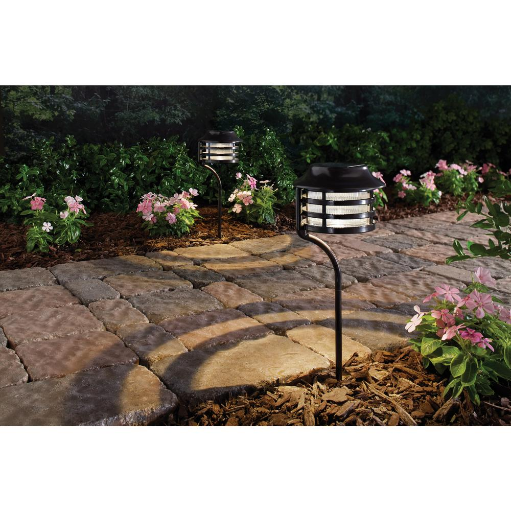 Solar Powered Bronze New Age Pagoda Path Light (2-Pack)