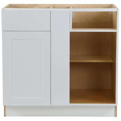 Cambridge Shaker Assembled 36 in.x24.5 in.x34.5 in. Plywood Blind Base Corner Cabinet Soft Close Door & Drawer in White