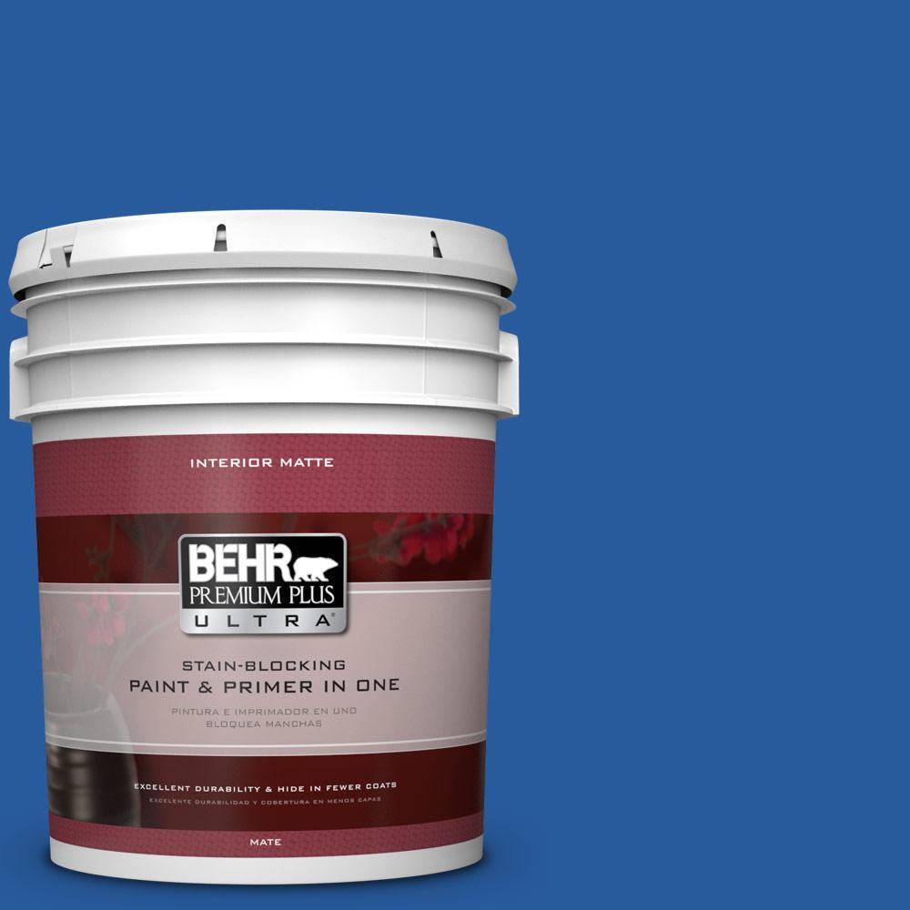 Behr premium plus ultra 5 gal p510 7 beacon blue matte for Behr pro paint