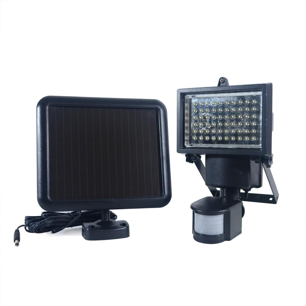 NATURE POWER 60 Integrated LEDBlackOutdoor Solar Powered Motion Activated SecurityFloodLight