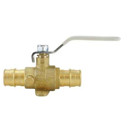 3/4 in  Brass PEX-A Barb Ball Valve with Drain and Mounting Pad