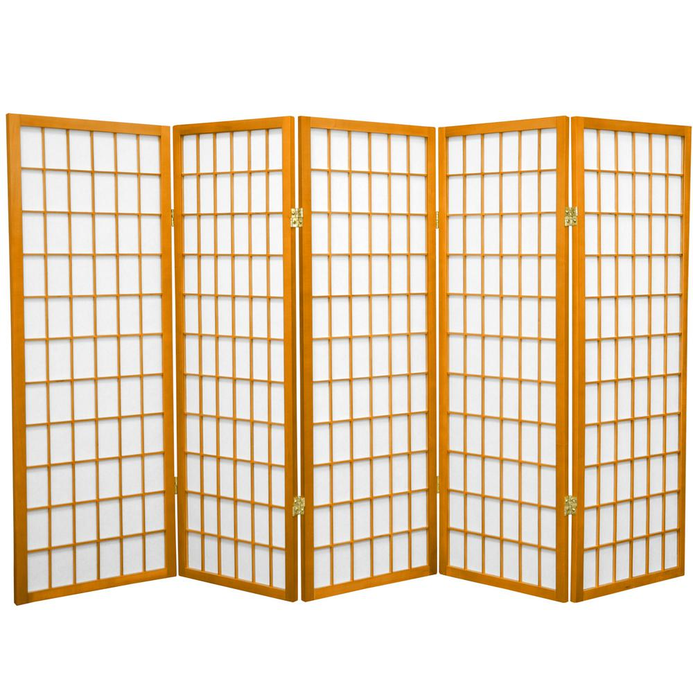 4 ft honey 5 panel room divider wp48 hon 5p the home depot rh homedepot com 5 panel room divider Rolling Room Dividers Partitions