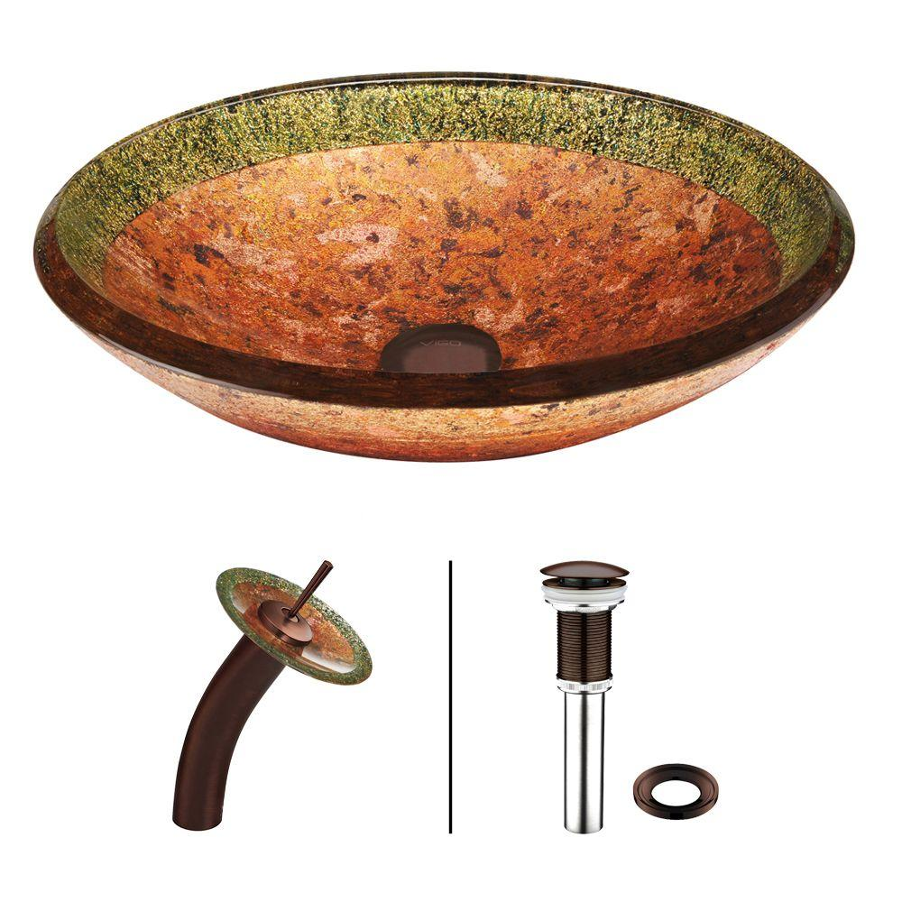 VIGO Vessel Sink In Janus With Waterfall Faucet Set In Oil Rubbed Bronze
