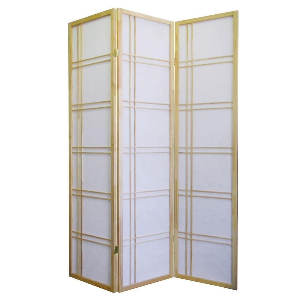 Home Decorators Collection Girard 5.83 ft. Natural 3-Panel Room Divider
