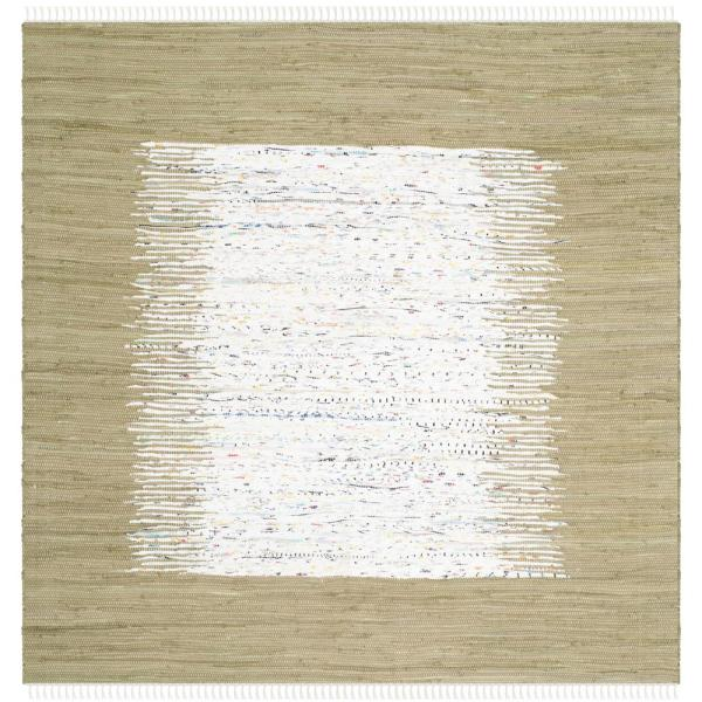 Montauk Ivory/Olive 6 ft. x 6 ft. Square Area Rug