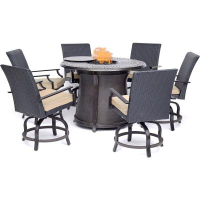 Aspen Creek 5-Piece Aluminum Outdoor Dining Set with Natural Oat Cushions and Firepit