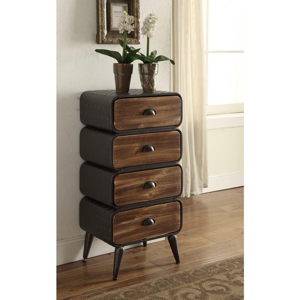 Urban Loft Rustic Natural Pine 4 Rounded Drawer Chest