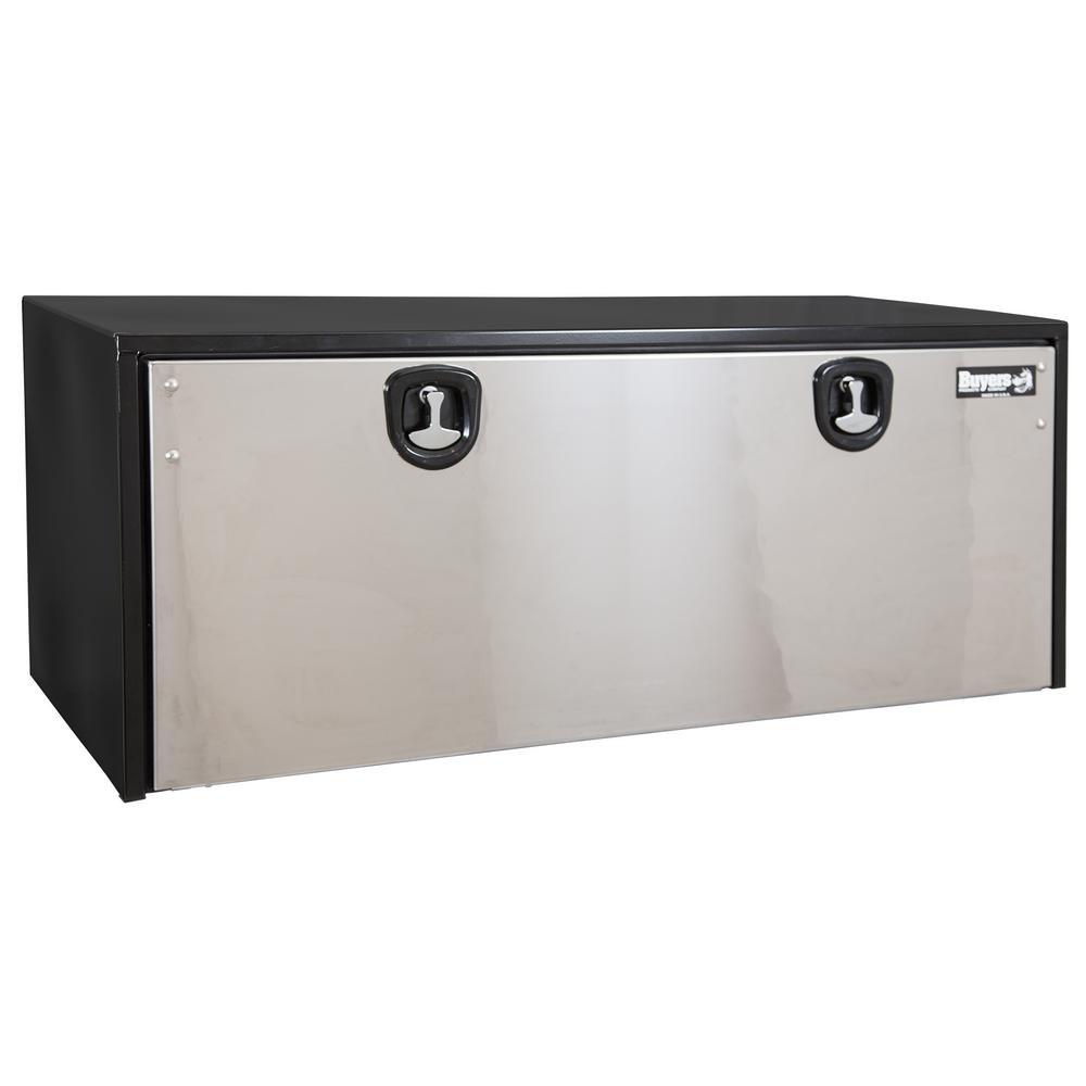 24 in. x 24 in. x 60 in. Black Steel Underbody Truck Box with Stainless Steel Door