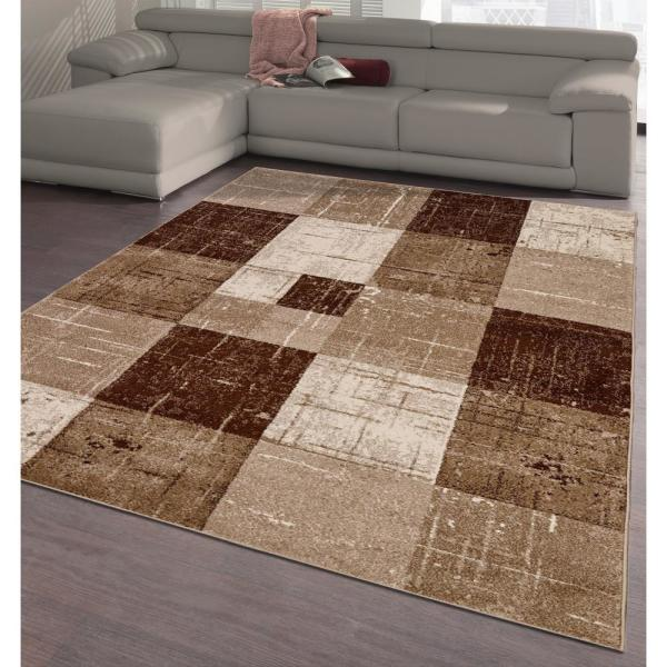 City Collection Brown Squares 5 Ft X 7 Ft Indoor Area Rug Cit3128 5x7 The Home Depot