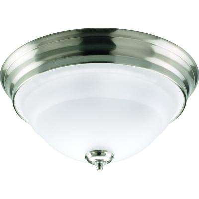 Torino Collection 2-Light Brushed Nickel Flushmount with Etched Glass