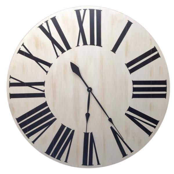 Stratton Home Decor White Rustic Farmhouse Wall Clock S11545 The Home Depot