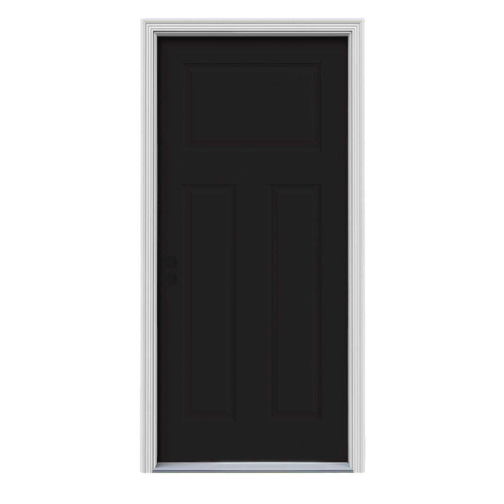 32 in. x 80 in. 3-Panel Craftsman Black Painted Steel Prehung