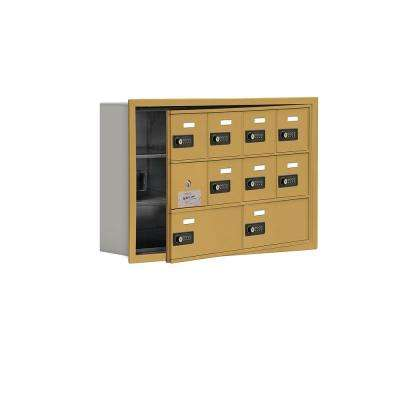19100 Series 29.25 in. W x 18.75 in. H x 5.75 in. D 9 Doors Cell Phone Locker R-Mount Resettable Locks in Gold