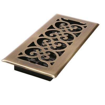 2-1/4 in. x 14 in. Antique Brass Plated Scroll Floor Register
