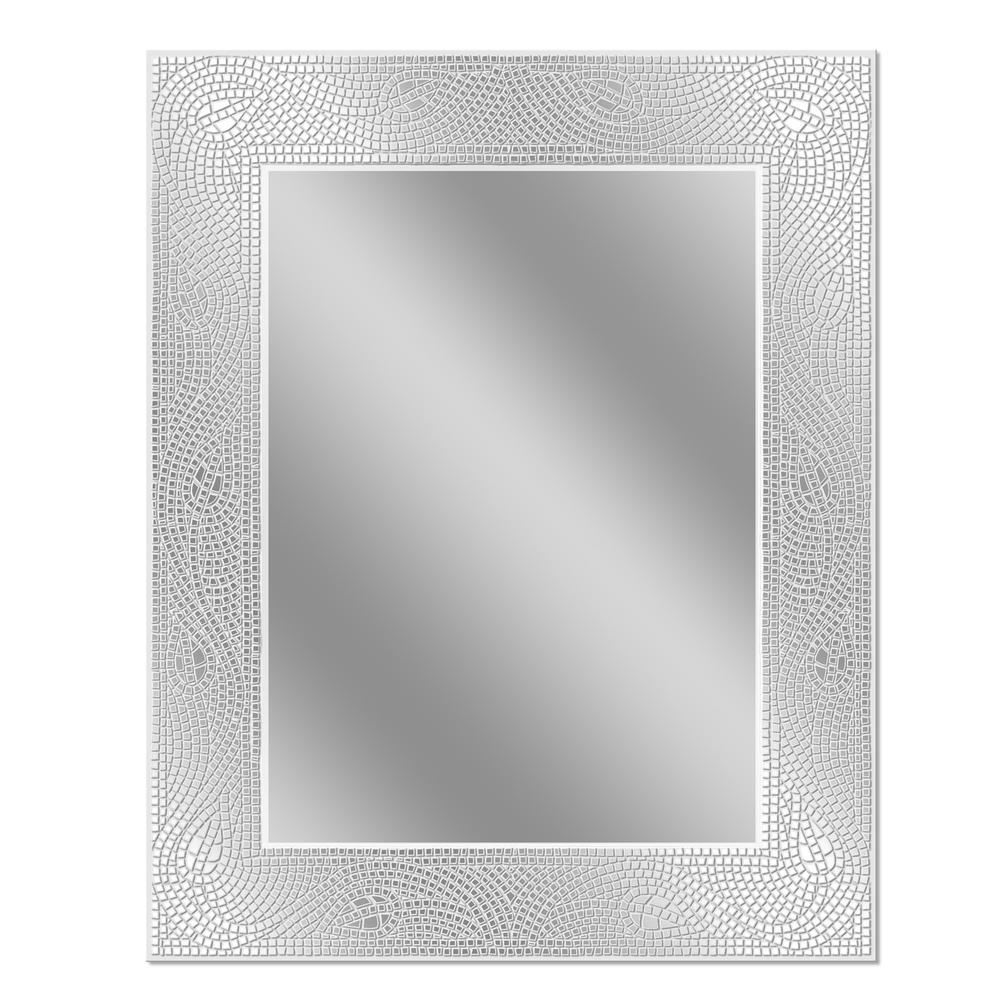 Deco Mirror 24 in. W x 30 in. H Crystal Mosaic Etched Wall Mirror ...