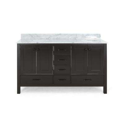 Lyndon 72 in. W x 22 in. D Bath Vanity with Carrara Marble Vanity Top in Brown with White Basin