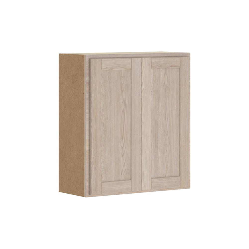 Hampton Bay Stratford Embled 27x30x12 In Wall Cabinet Unfinished Oak