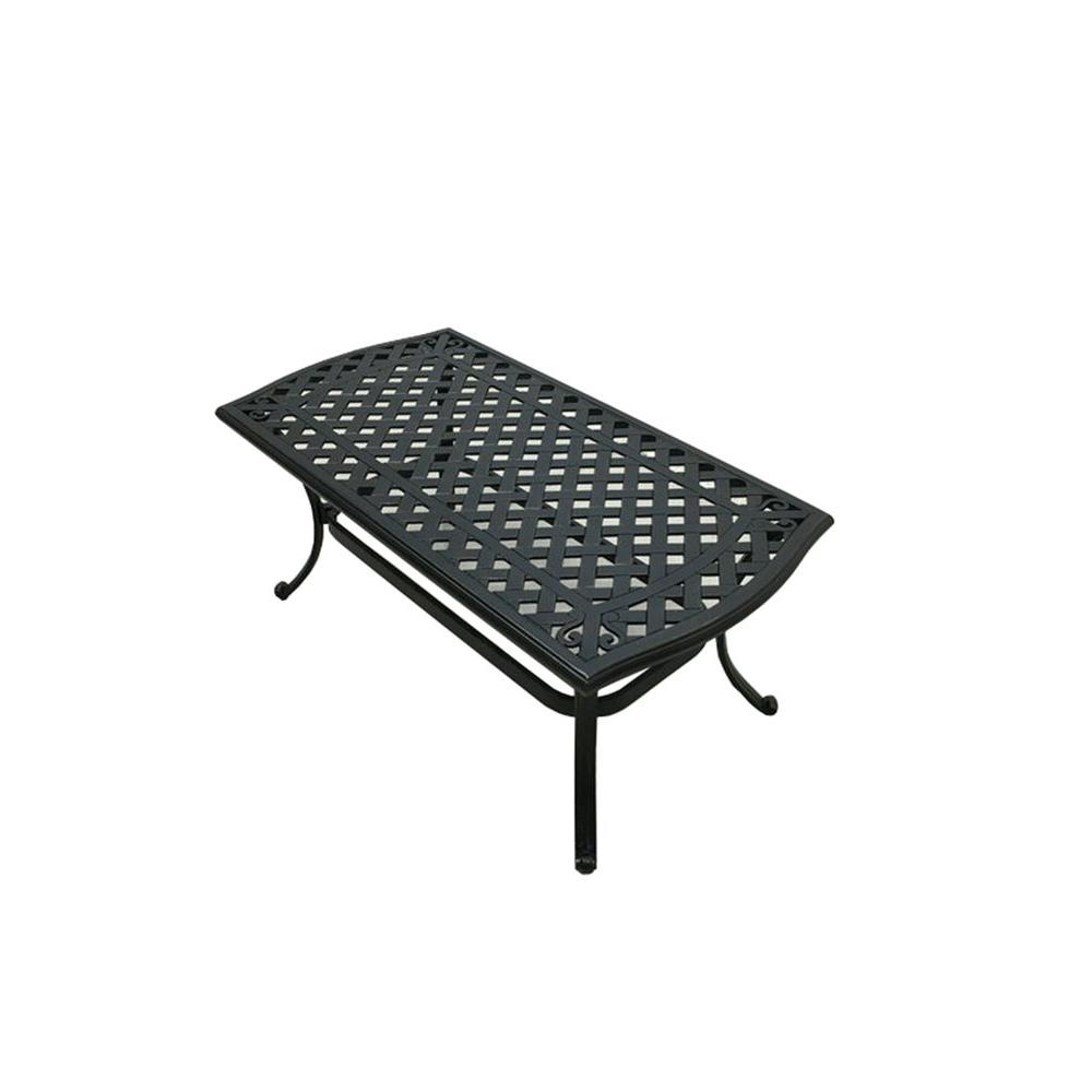 Coffee Table Patio Furniture: Hampton Bay Belcourt Metal Rectangle Outdoor Coffee Table