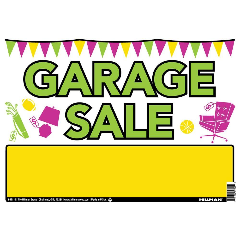The Hillman Group 10 In X 14 In Plastic Garage Sale Sign