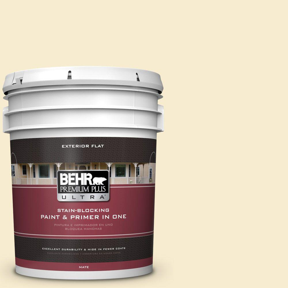 BEHR Premium Plus Ultra 5-gal. #380E-2 Lightning White Flat Exterior Paint