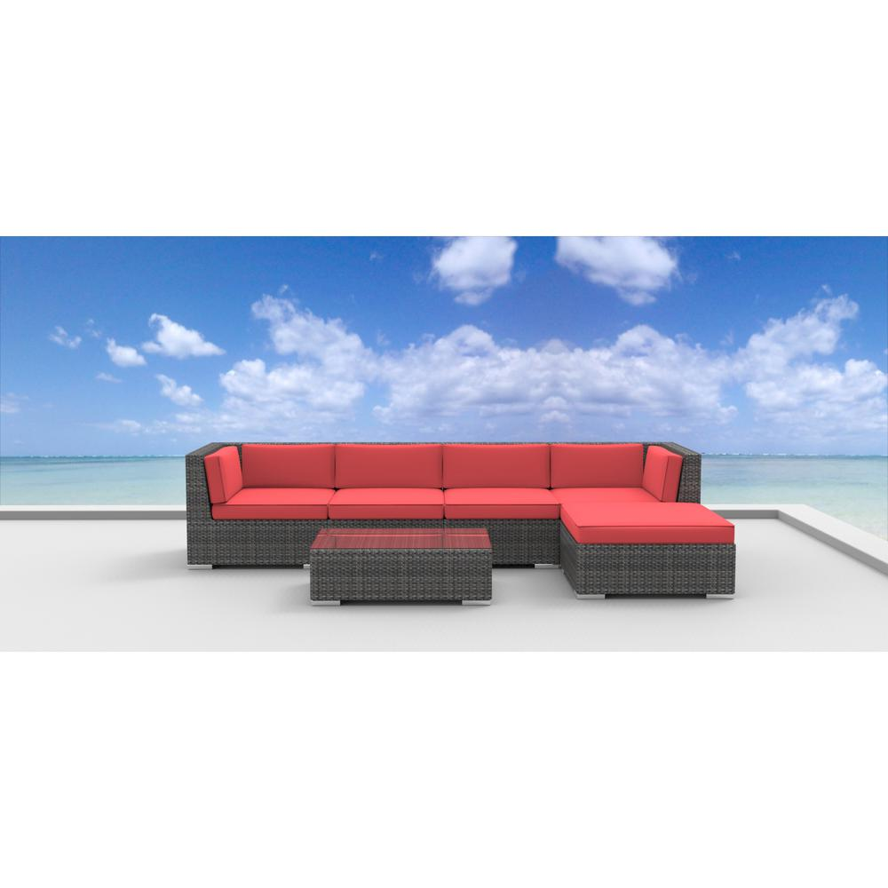 Urban Furnishing Malo 6-Piece Wicker Outdoor Sectional Seating Set with Coral Red Cushions