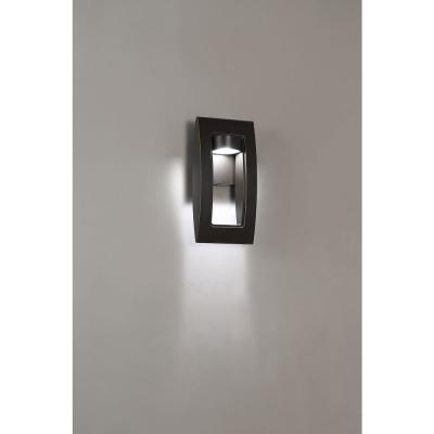 Frolynn 1-Light Oil Rubbed Bronze with Gold Highlights Outdoor Integrated LED Wall Lantern Sconce with Etched Glass