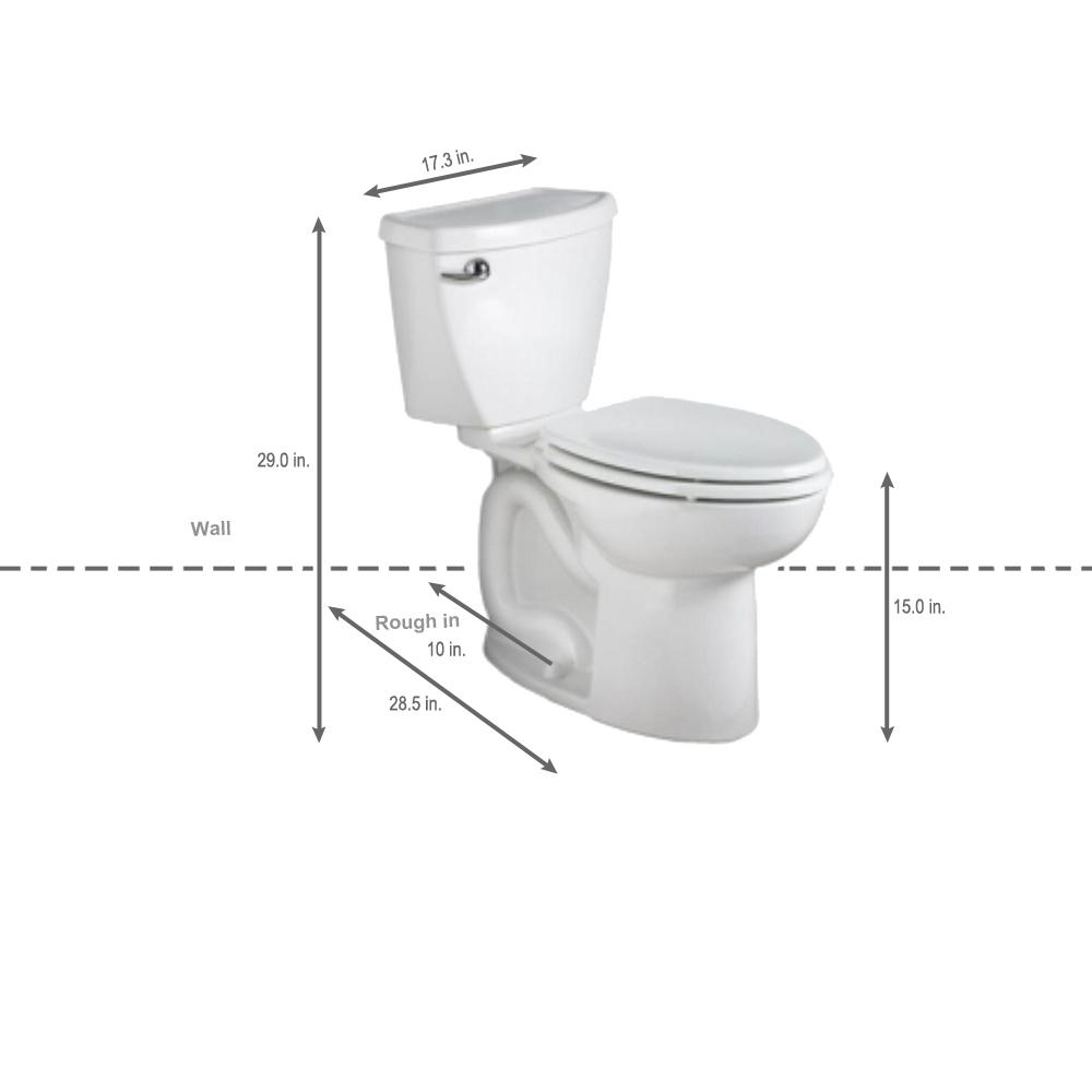 American Standard Cadet 3 Powerwash 10 In Rough In 2 Piece 1 28 Gpf Single Flush High Efficiency Elongated Toilet In White 270cb101 020 The Home Depot