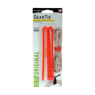 12 in. Gear Tie in Bright Orange (2-Pack)